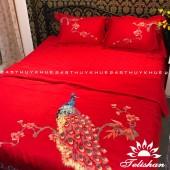 Bộ chăn ga gối Cotton Silk tơ tằm thượng hạng chần thêu